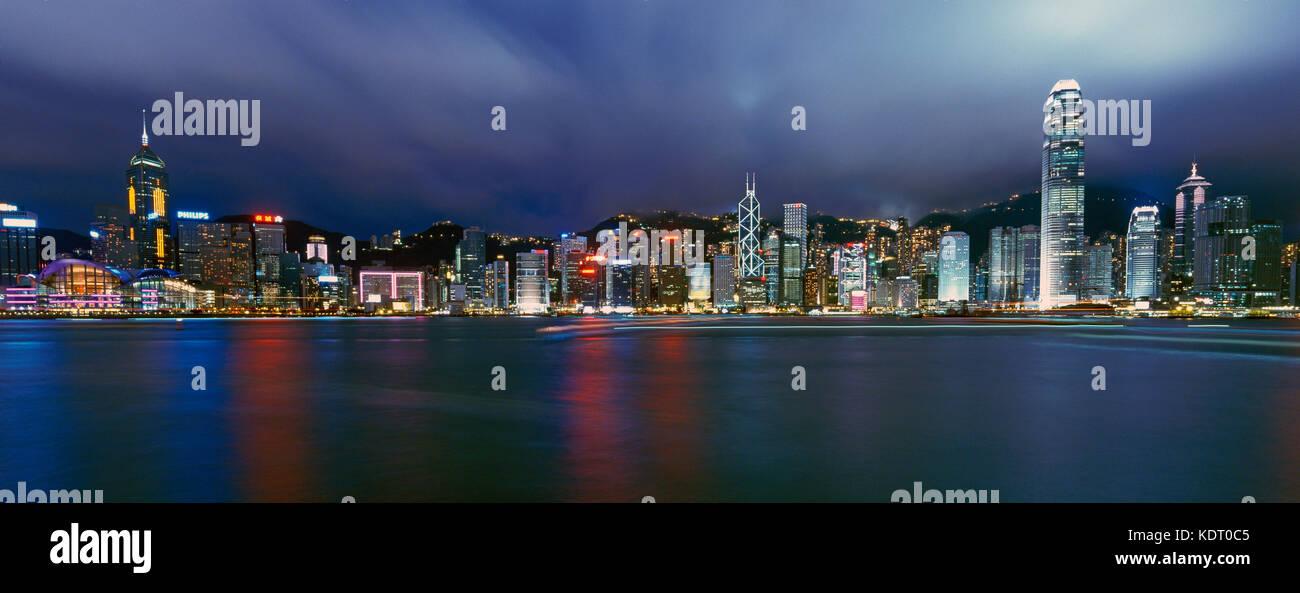 Hong Kong Island waterfront at night, China - Stock Image