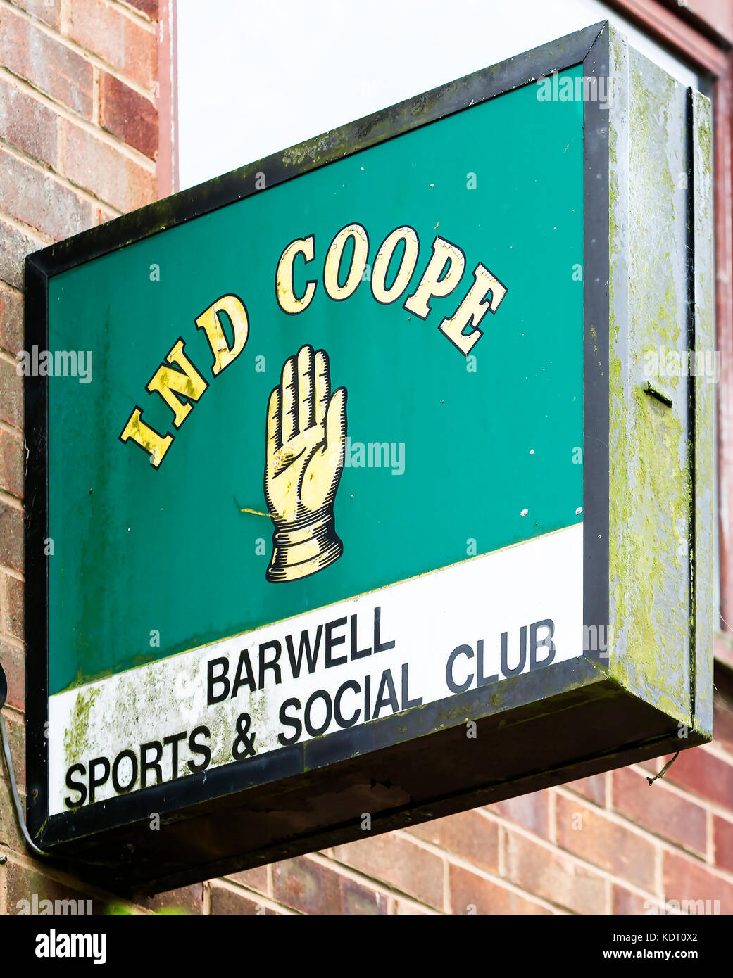 Old Ind Coope sign on the wall of Barwell Sports & Social Club in Leicestershire - Stock Image