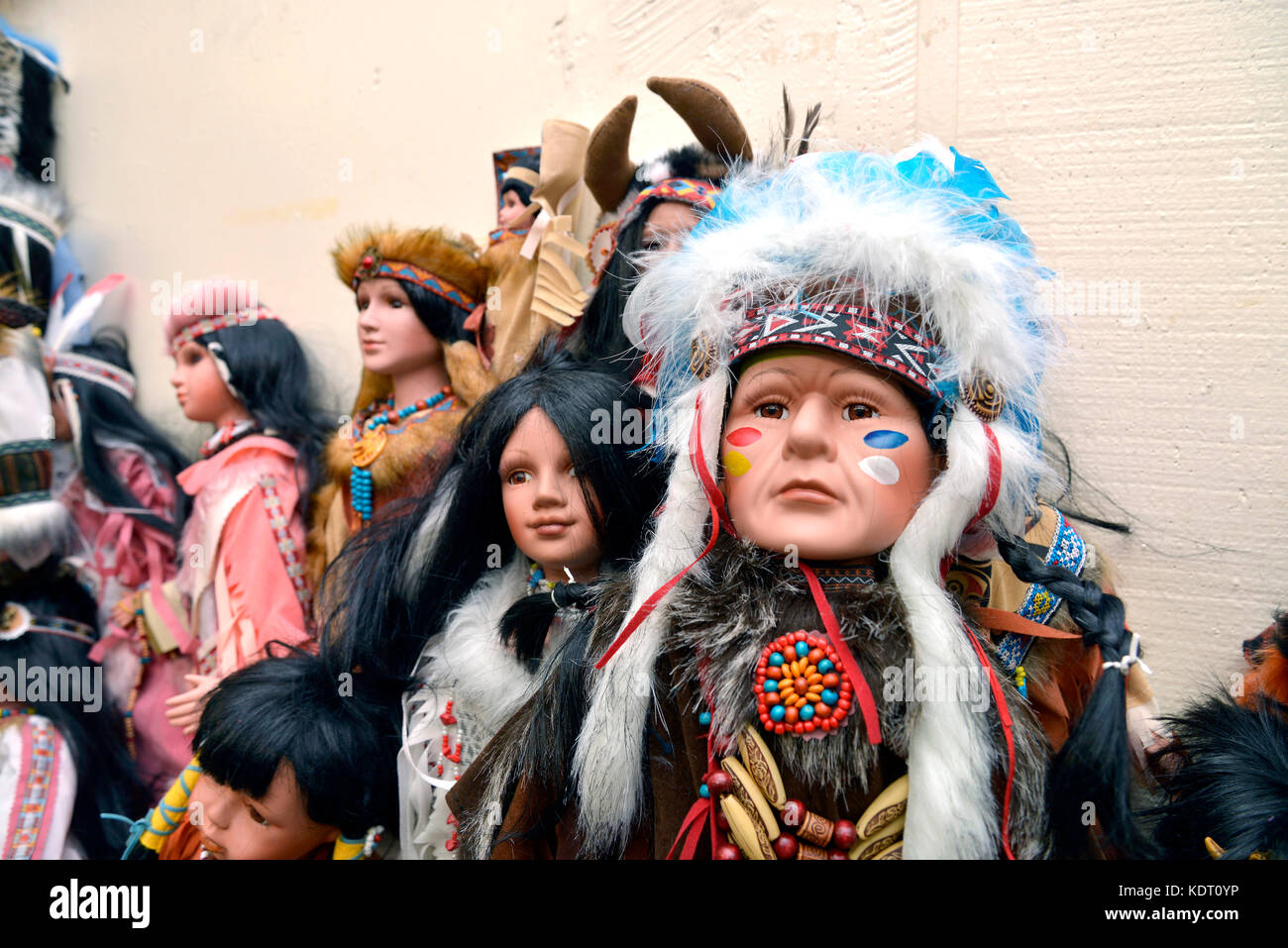 Dolls depicting Native Americans are sold at The Thing, a travel stop, along Interstate 10 east of Willcox, Arizona, - Stock Image