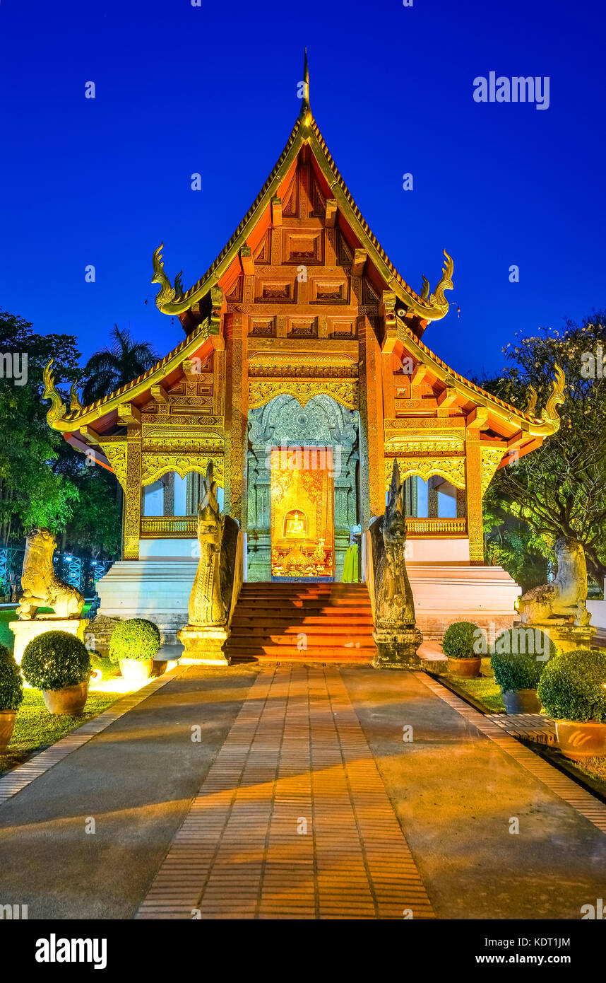 Wat Phra Singh Woramahaviharn located in the western part of the old city center of Chiang Mai,Thailand, Asia - Stock Image