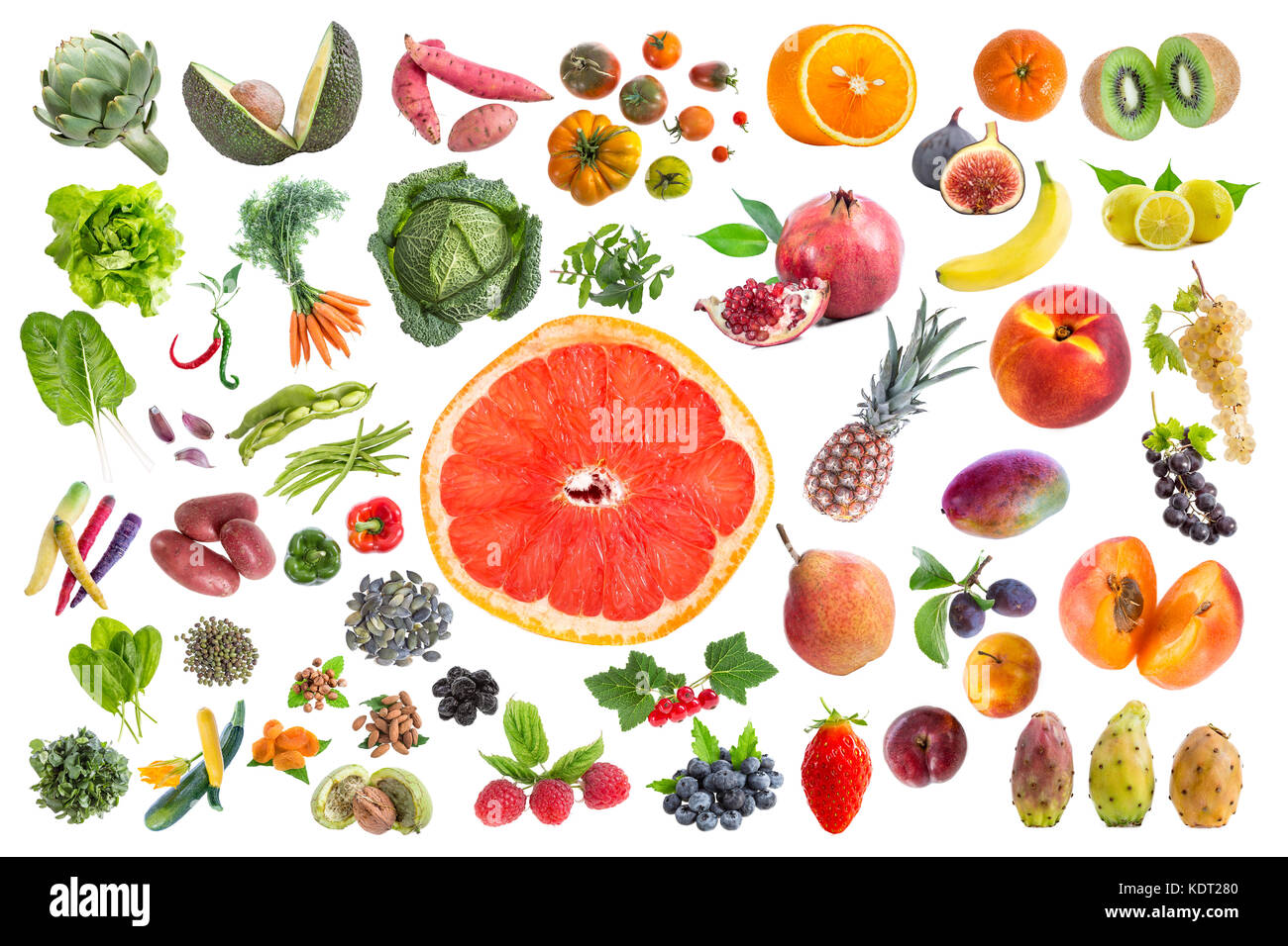Concept of healthy food, Various Fruits and vegetables to eat five a day on withte background with grapfruit slice - Stock Image