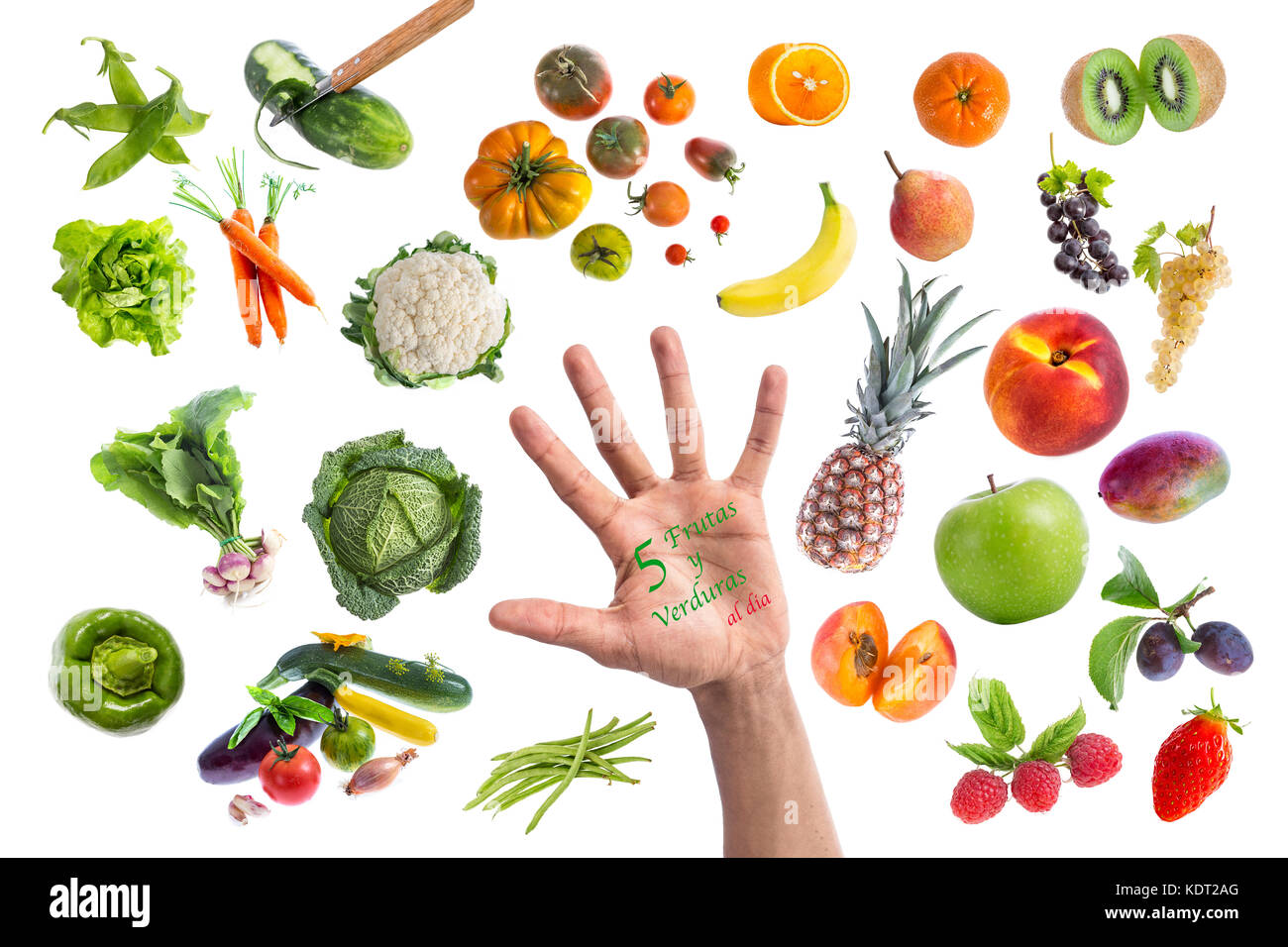 Concept of healthy food, Various Fruits and vegetables to eat five a day written in a hand in the middle on withte - Stock Image