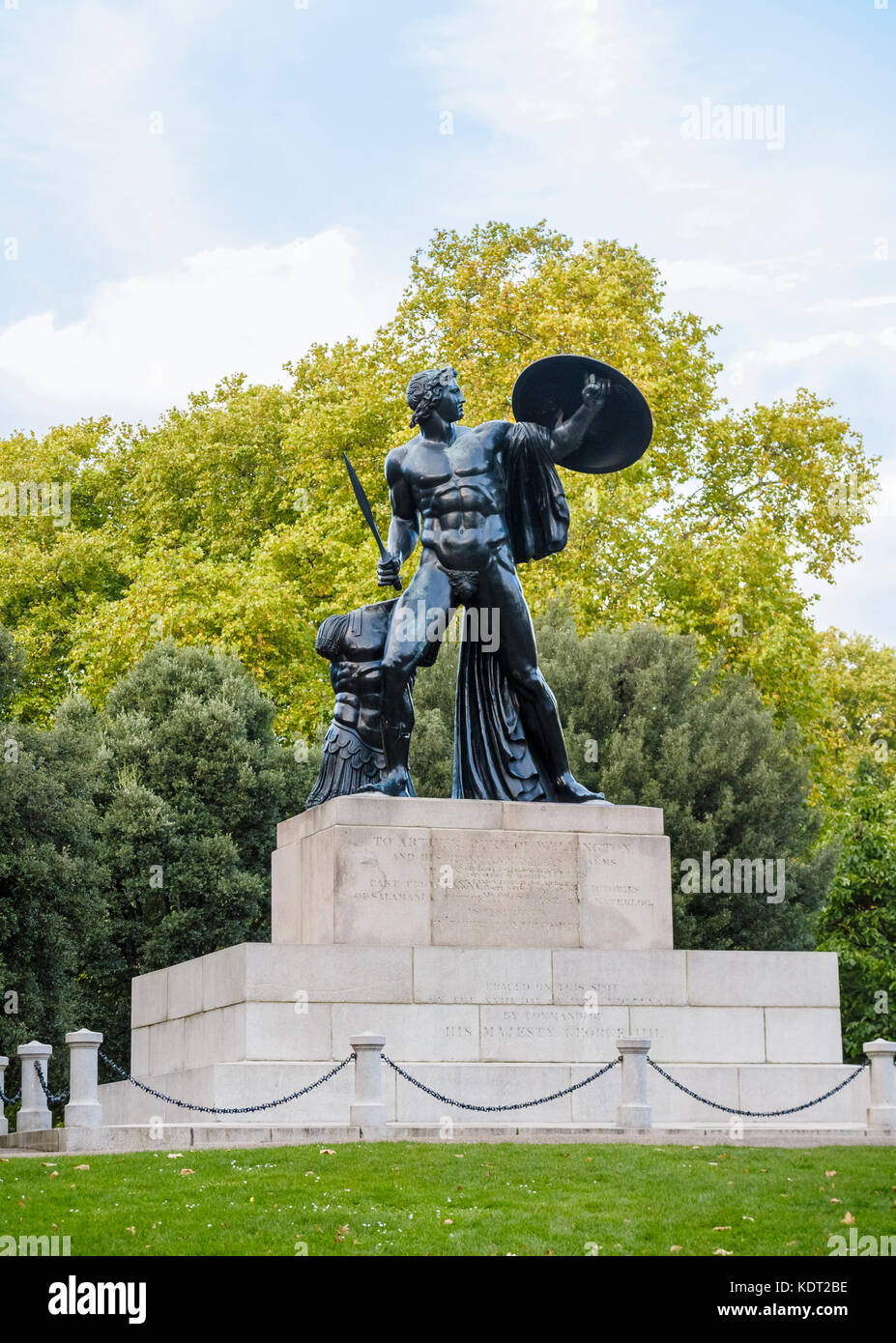 View of large bronze statue of Achilles in Hyde Park London W1 erected in honour of Arthur Wellesley, 1st Duke of - Stock Image