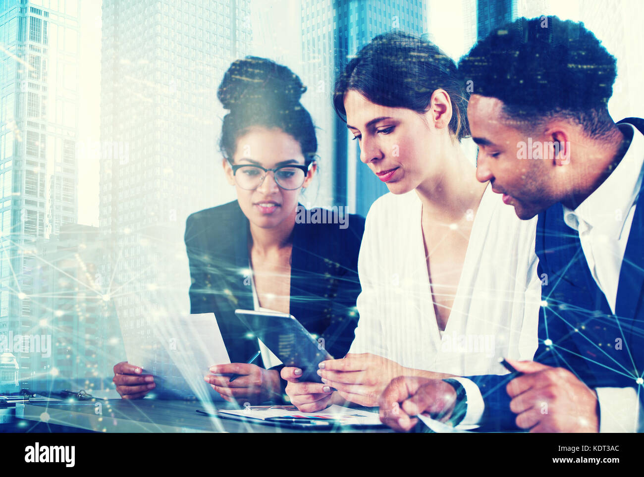 Businessperson in office with network effect. concept of partnership and teamwork - Stock Image