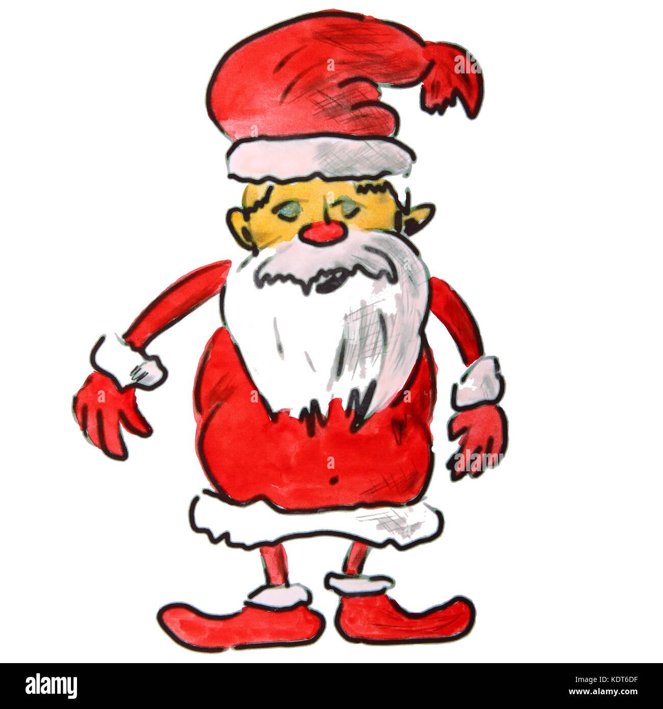 Watercolor Drawing Kids Cartoon Santa Claus On A White Backgroun