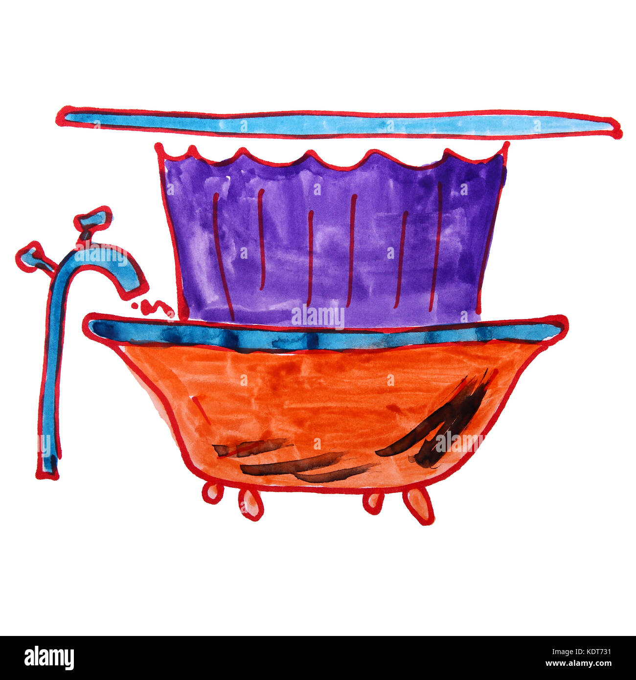 watercolor bathroom bath shower curtain drawing cartoon style is - Stock Image