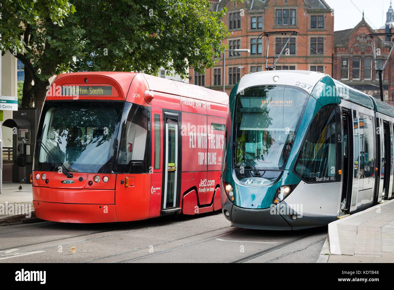 Close-up of Two Trams, Nottingham Express Transit, Nottingham - Stock Image