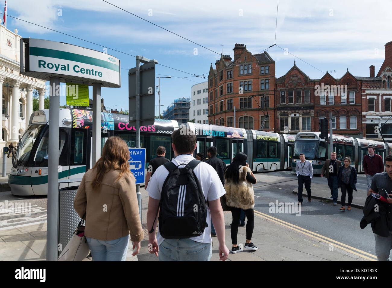 Upper Parliament Street, Nottingham at the top of Market Street with trams and Theatre Royal Concert Hall on the - Stock Image