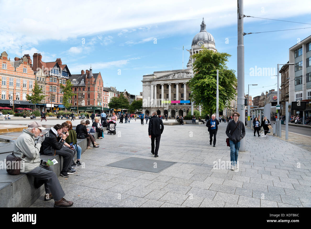 Old Market Square, Nottingham, looking east towards the Council House with fountains in the foreground. - Stock Image
