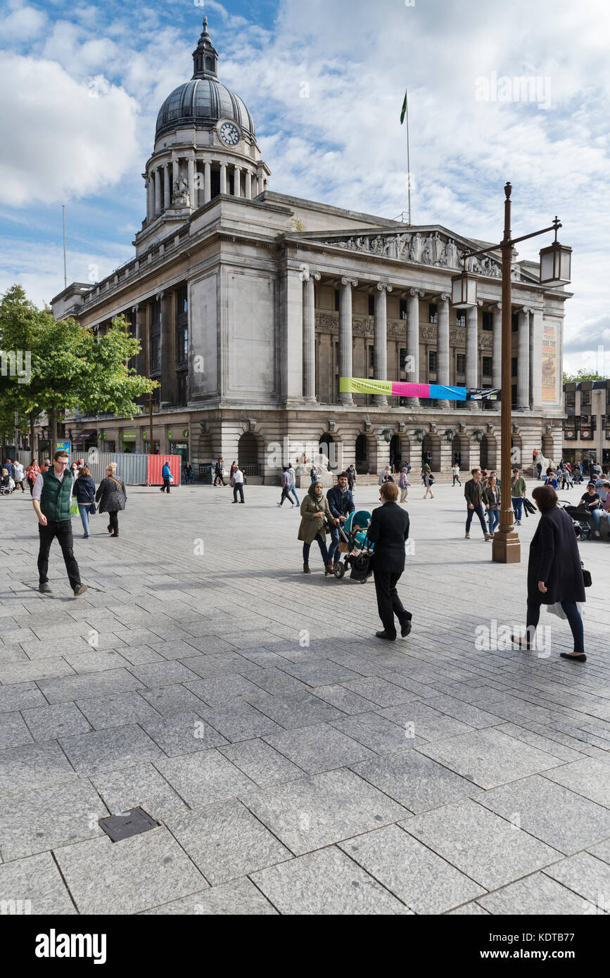 Old Market Square, Nottingham, looking east towards the Council House. - Stock Image
