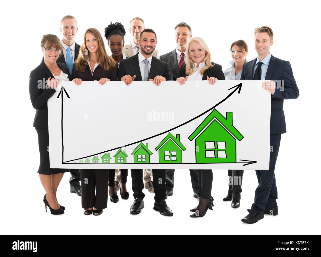 Diverse Business People Holding Billboard Showing House Rising Concept On White Background - Stock Image