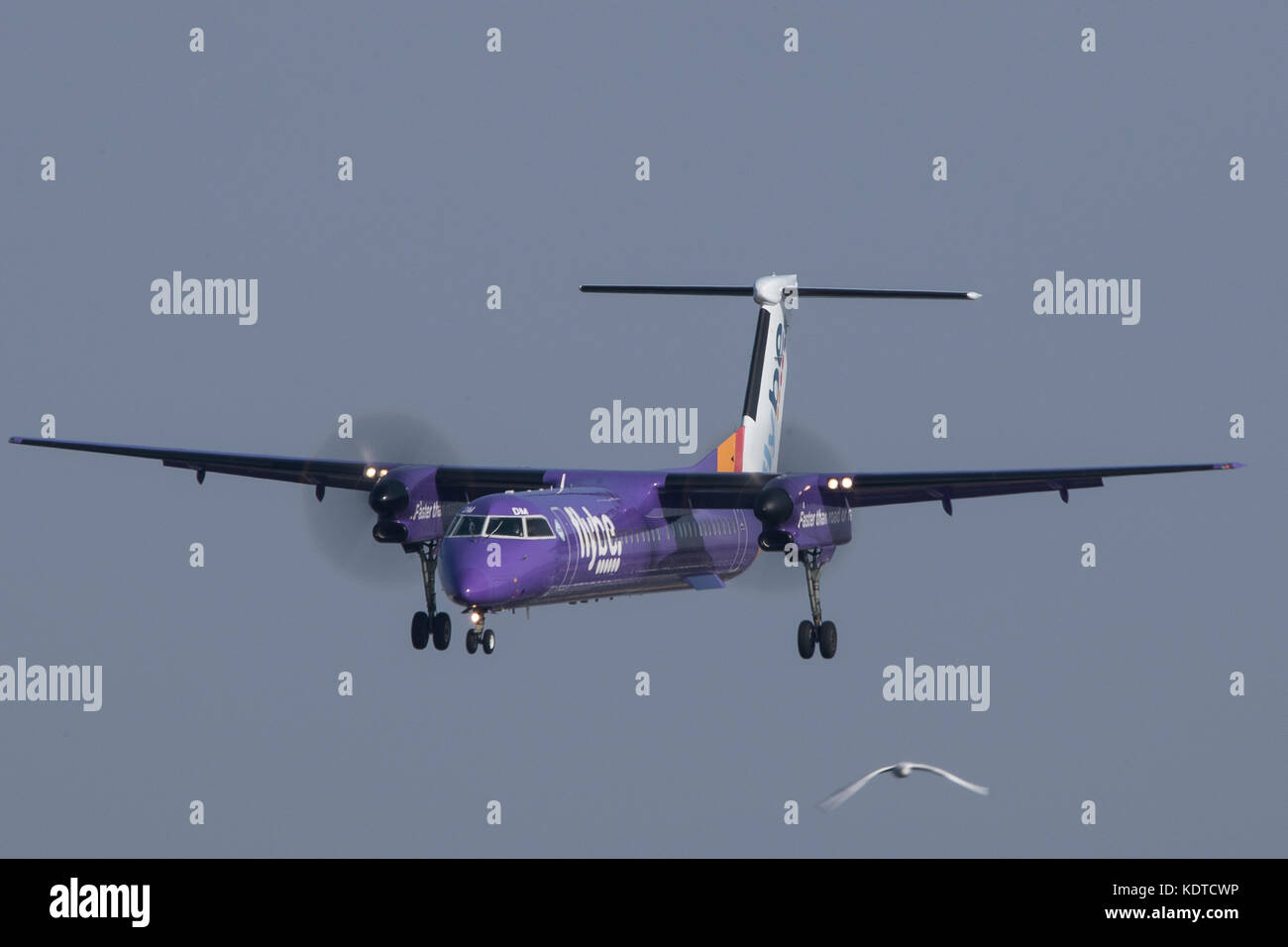 Flybe Bombardier Dash 8 Q400 at London City Airport. - Stock Image