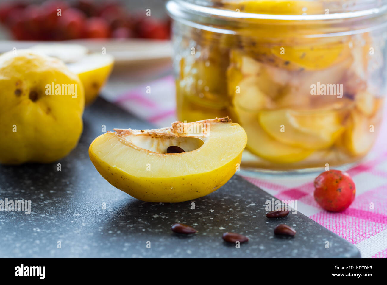 Delicious quince and syrup homemade. - Stock Image