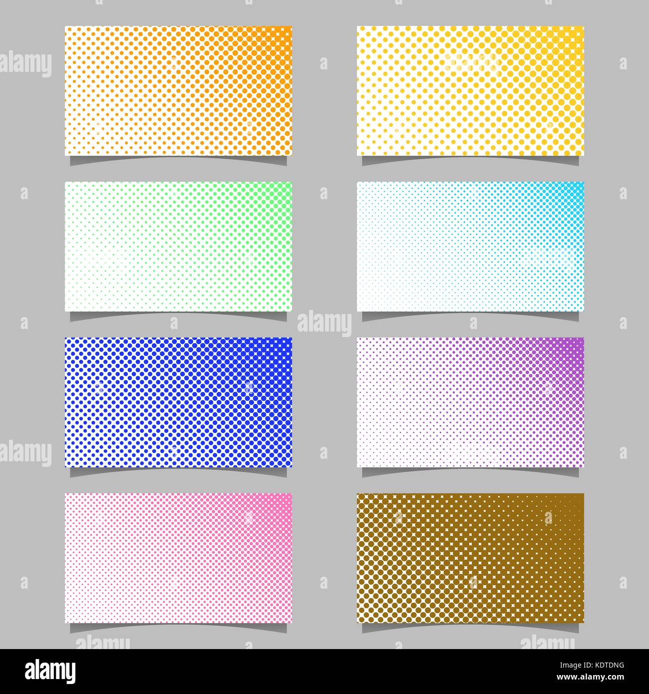 Color Abstract Halftone Circle Pattern Business Card Background Design Set