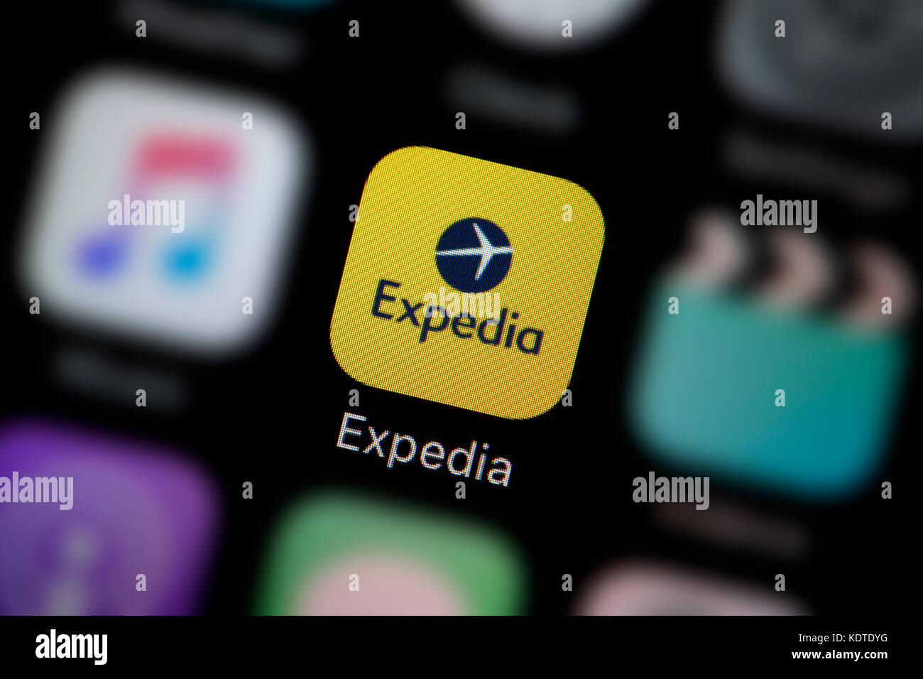 A Close Up Shot Of The Logo Representing Expedia App Icon As Seen On Screen Smart Phone Editorial Use Only