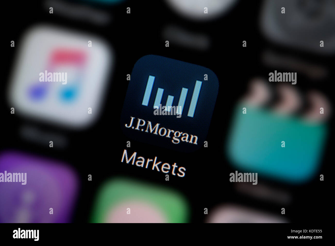 A close-up shot of the logo representing the JP Morgan markets app icon, as seen on the screen of a smart phone Stock Photo