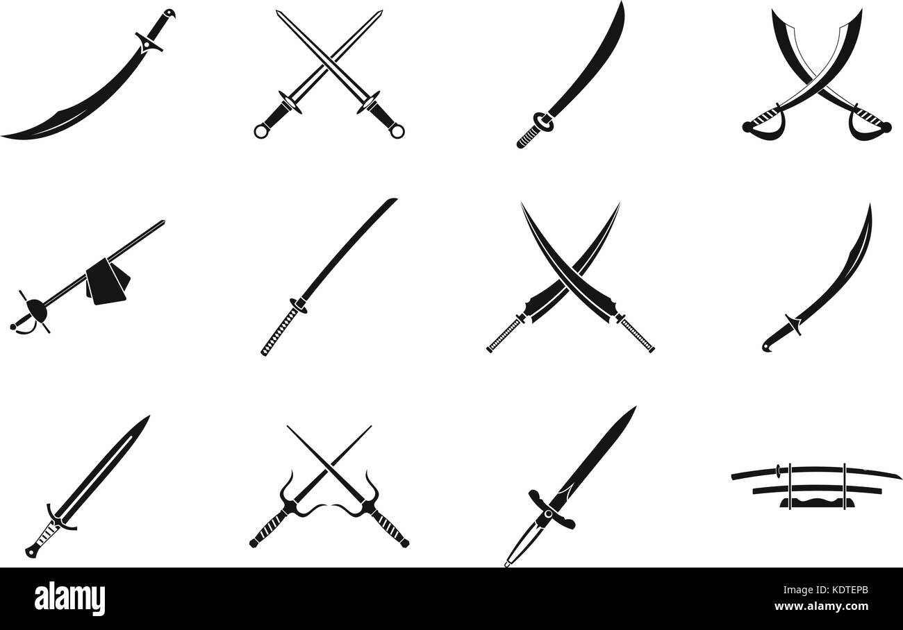 Sword icon set, simple style - Stock Image