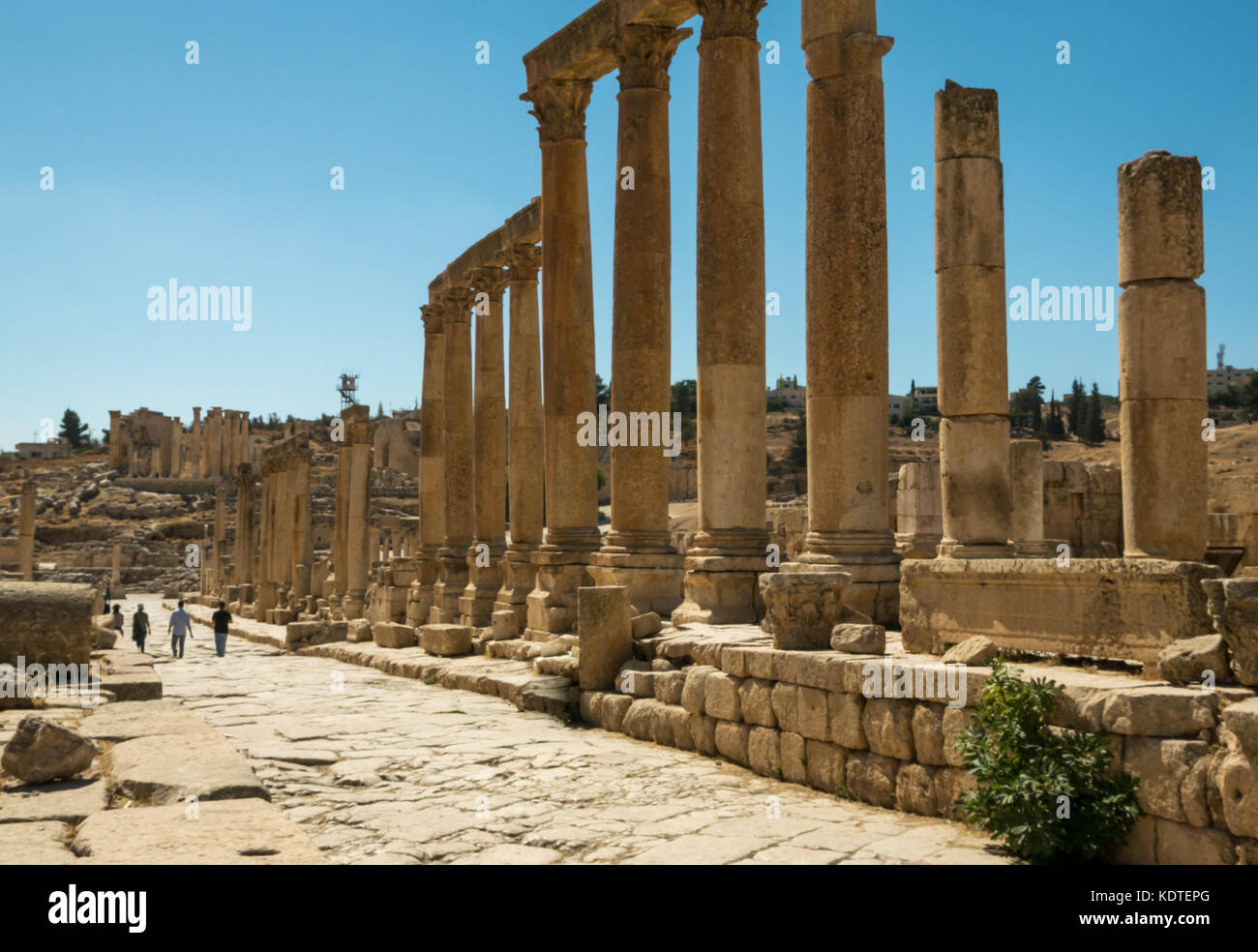 Tourists walking along the Cardo, Roman city of Jerash ancient Gerasa, archeological site and tourist attraction, - Stock Image