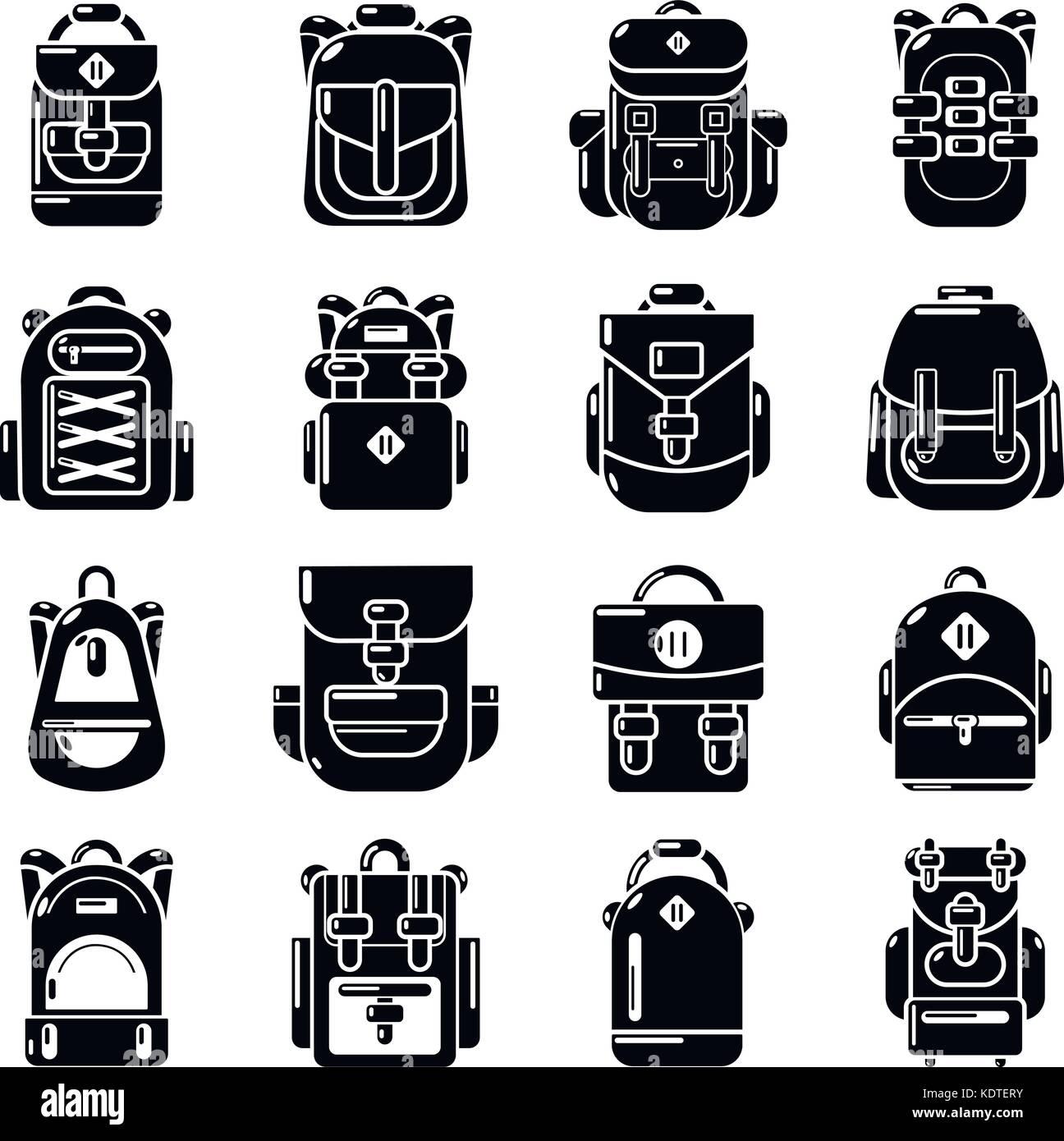 6cf1f8664791 Backpack icons set