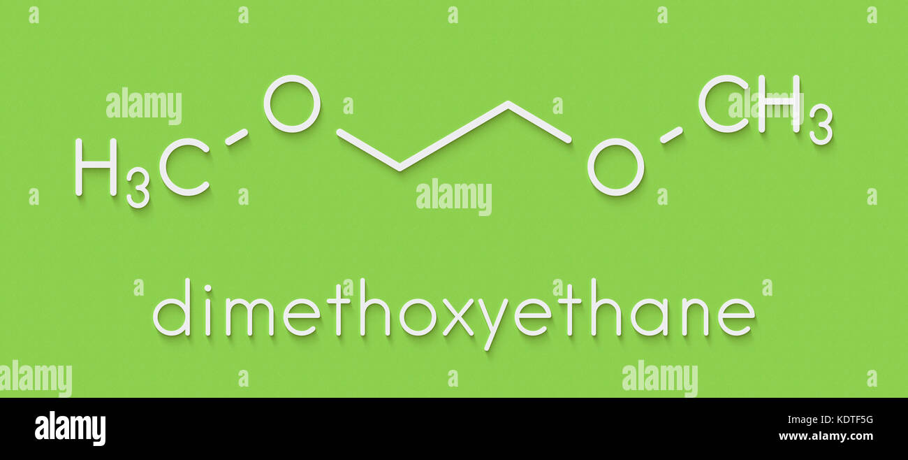 Dimethoxyethane (glyme, DME, dimethylene glycol) chemical solvent molecule. Skeletal formula. - Stock Image