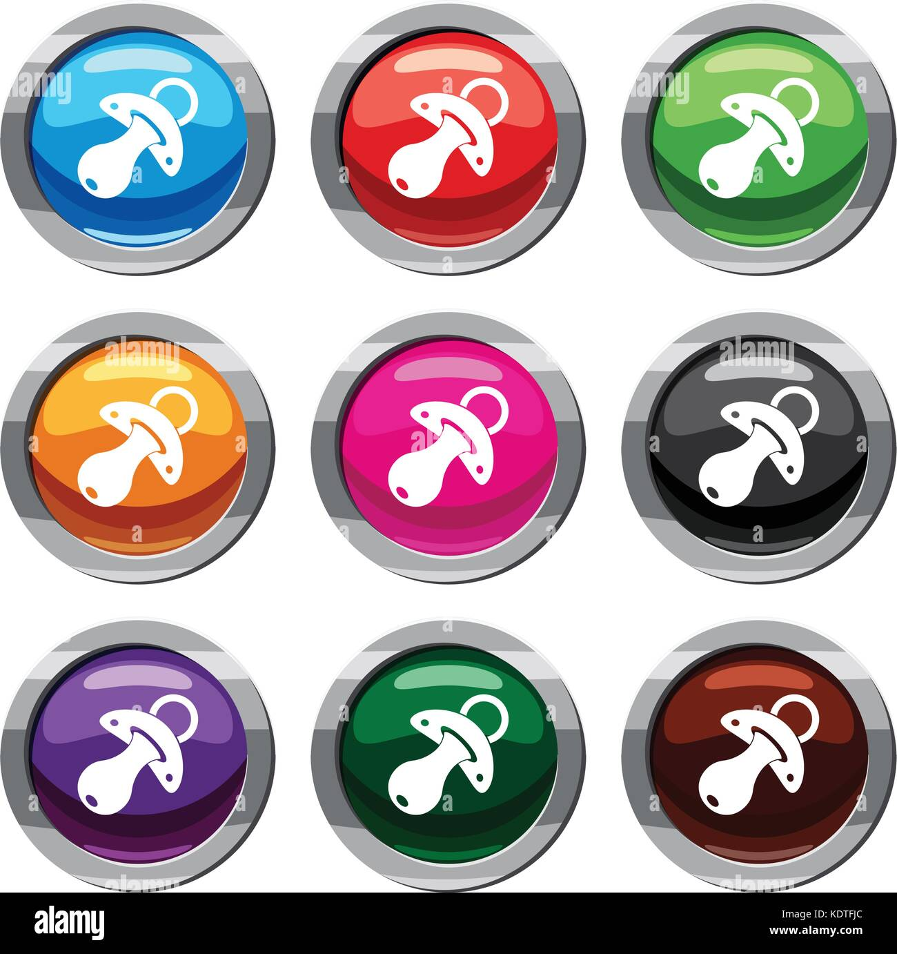 Baby pacifier set 9 collection Stock Vector