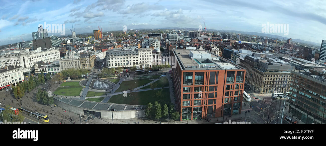 Manchester Piccadilly City Panorama, England, UK - Stock Image