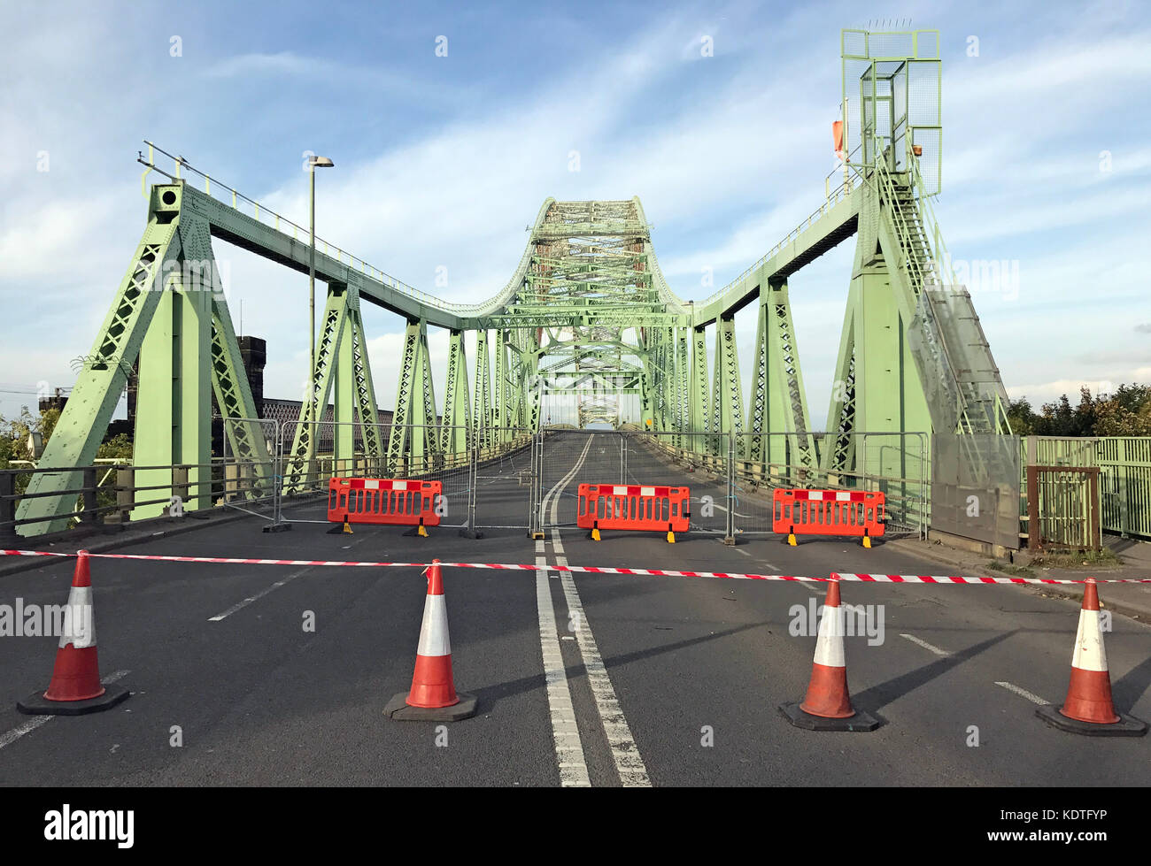 "WestBound Silver Jubilee Bridge, ""Runcorn-Widnes Bridge"" or Runcorn Bridge Stock Photo"