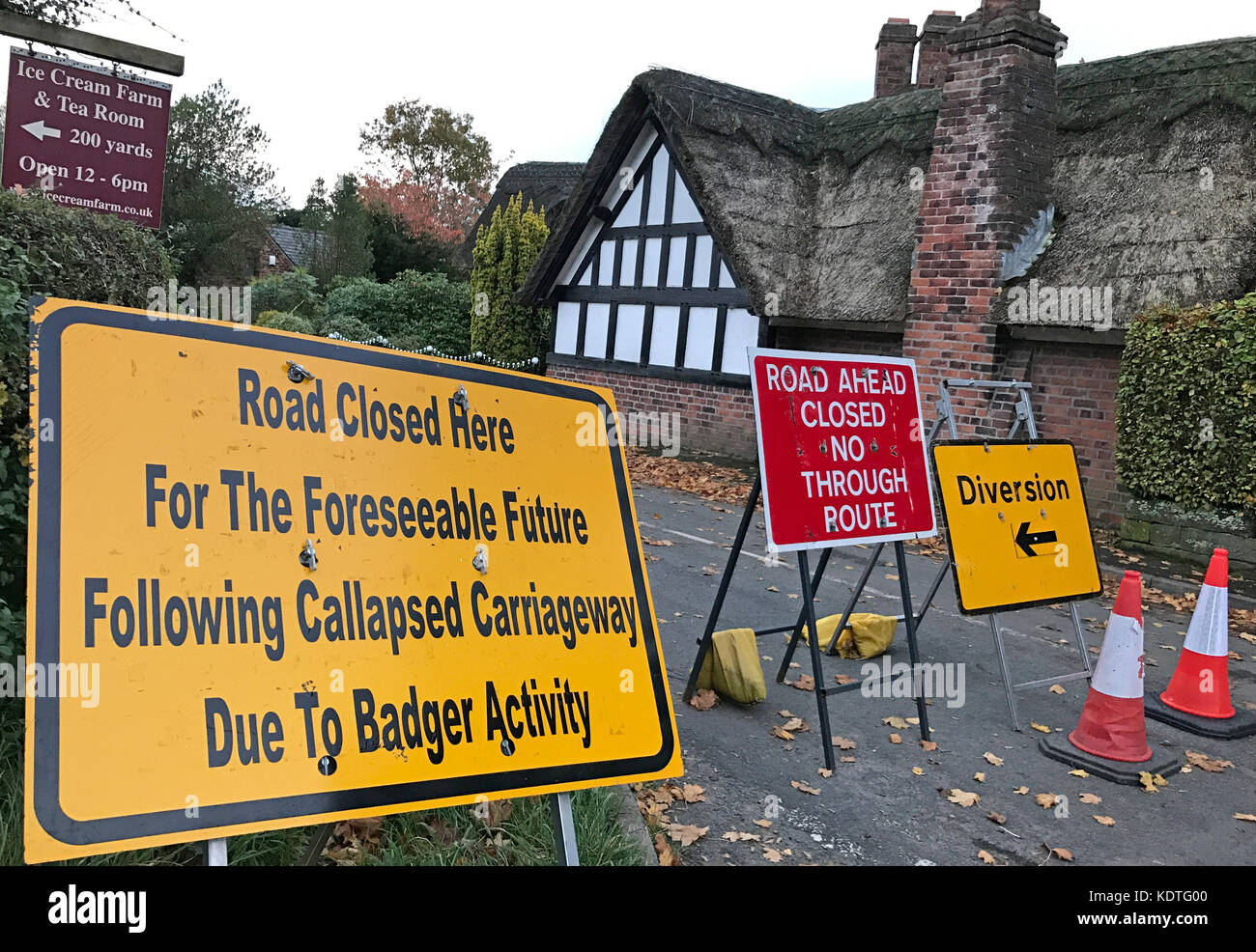 Road Closed Due To Badger Damage - Stock Image