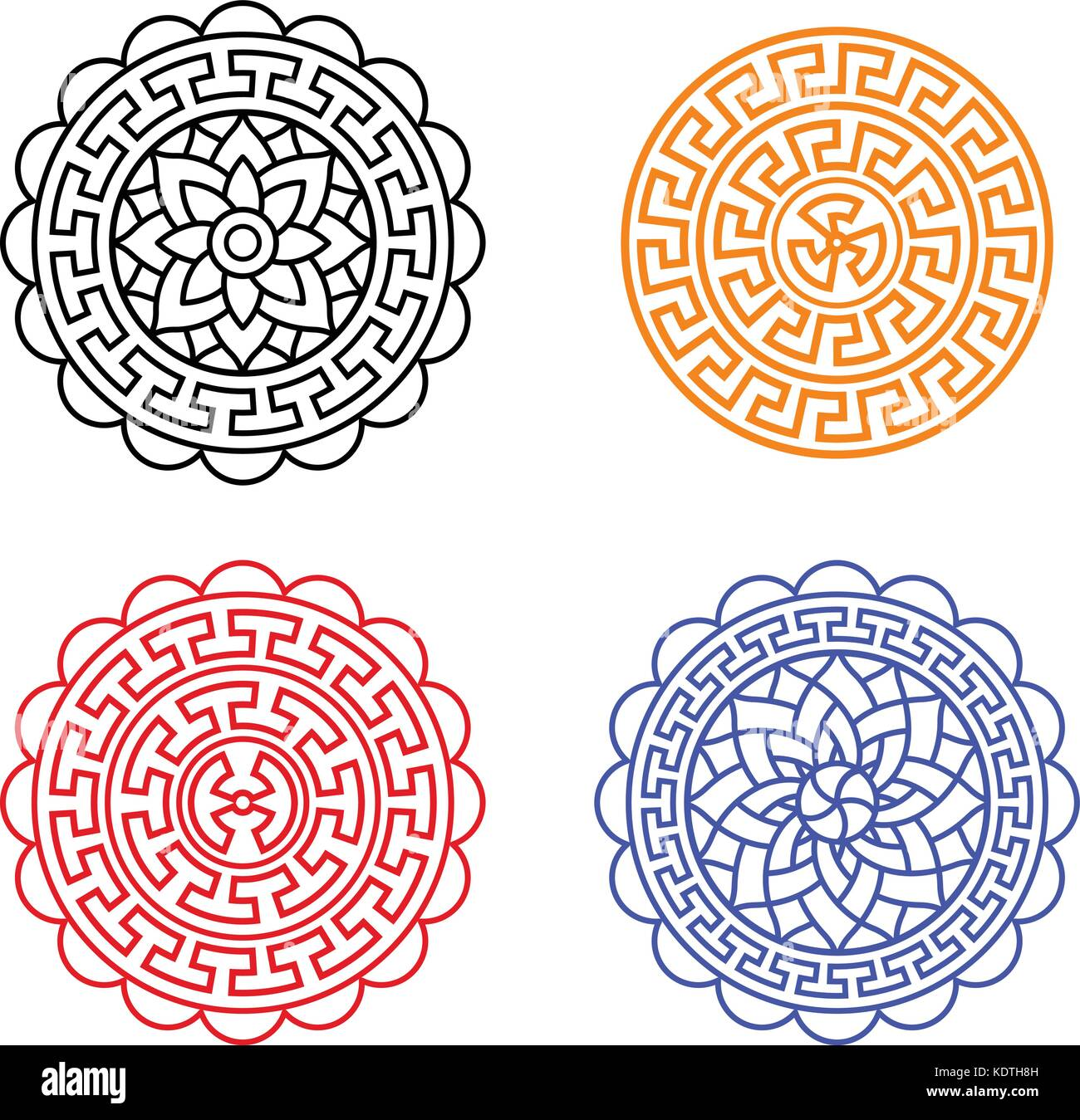 Set of chinese moon cake pattern on white vector design