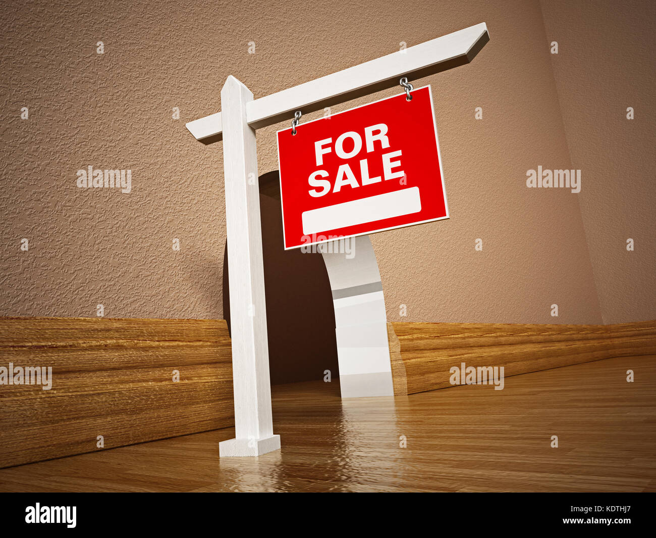 For sale signboard in front of mousehole. 3D illustration. Stock Photo