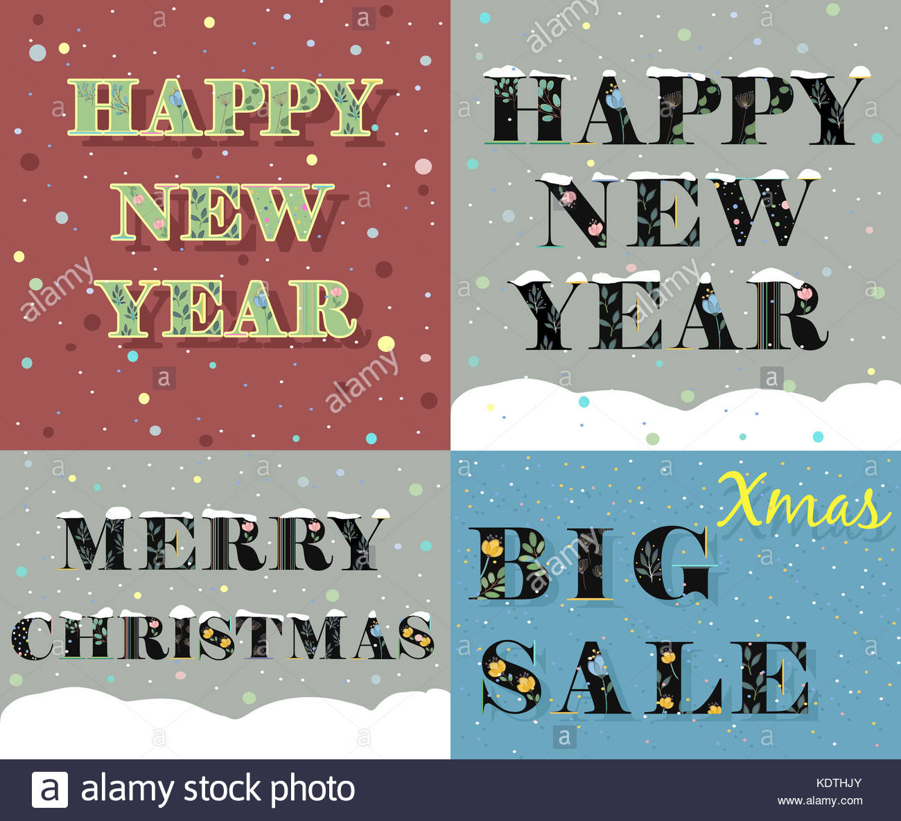 New Year And Christmas Greeting Cards Artistic Fonts Letters With Watercolor Flowers Texts