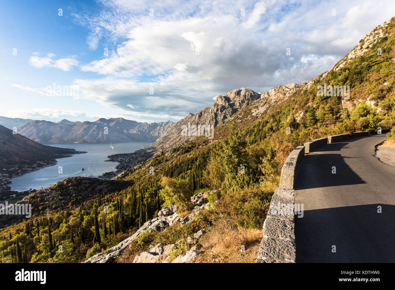 Mountain road above the Kotor bay and old town in Montenegro in the Balkans, Southeastern Europe Stock Photo