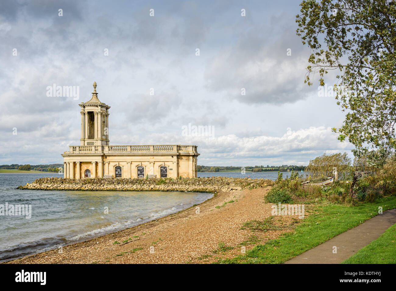 The disused sunken church in the Anglian Water reservoir at Normanton, Rutland Water, England. - Stock Image