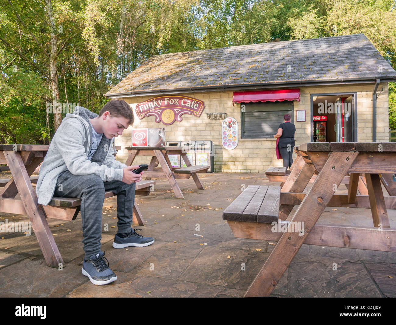 Young male teenager engrossed in his phone while sittig on a bench outside the Funky Fox cafe at Sykes Lane, Rutland - Stock Image