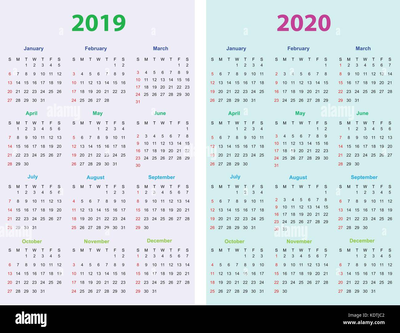Calendrier Annuel 2020 2020.Calendar Design 2019 2020 Stock Vector Art Illustration