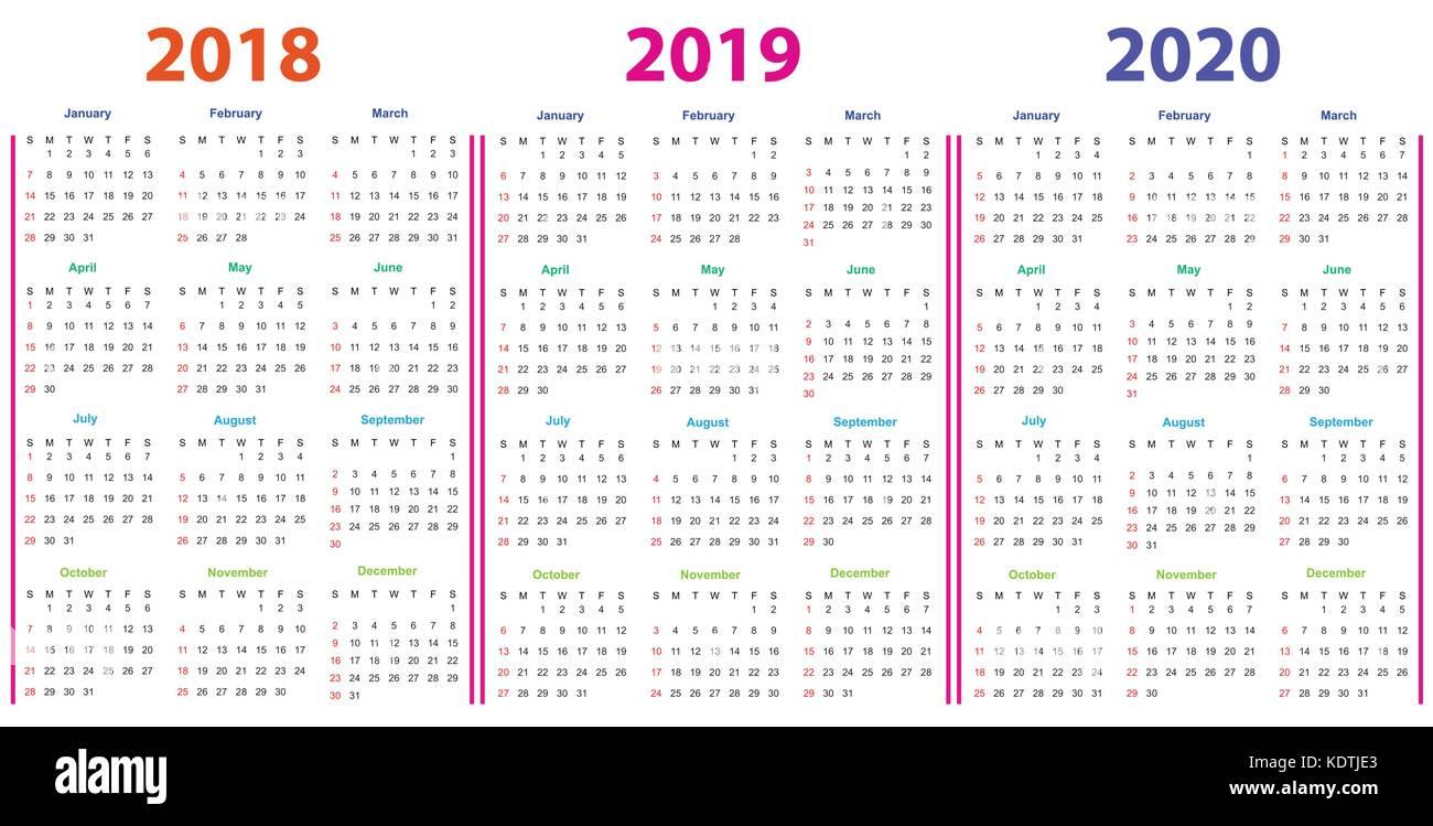 Calendario 2020 Editable Illustrator.Calendar Design 2018 2019 2020 Stock Vector Art