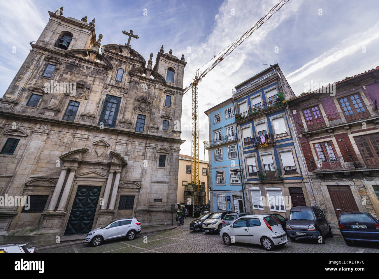 17th century facade of Church of the Convent of Sao Joao Novo in Porto city on Iberian Peninsula, second largest - Stock Image