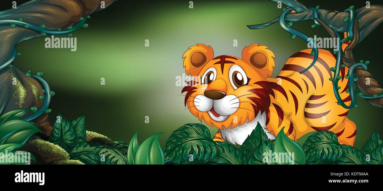 Wild tiger in the forest illustration Stock Vector