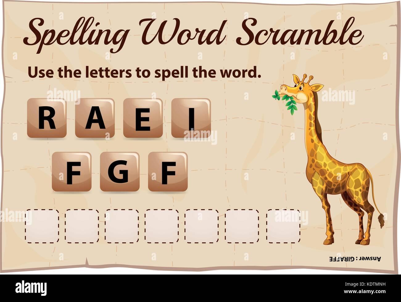Spelling word scramble for word giraffe illustration - Stock Vector