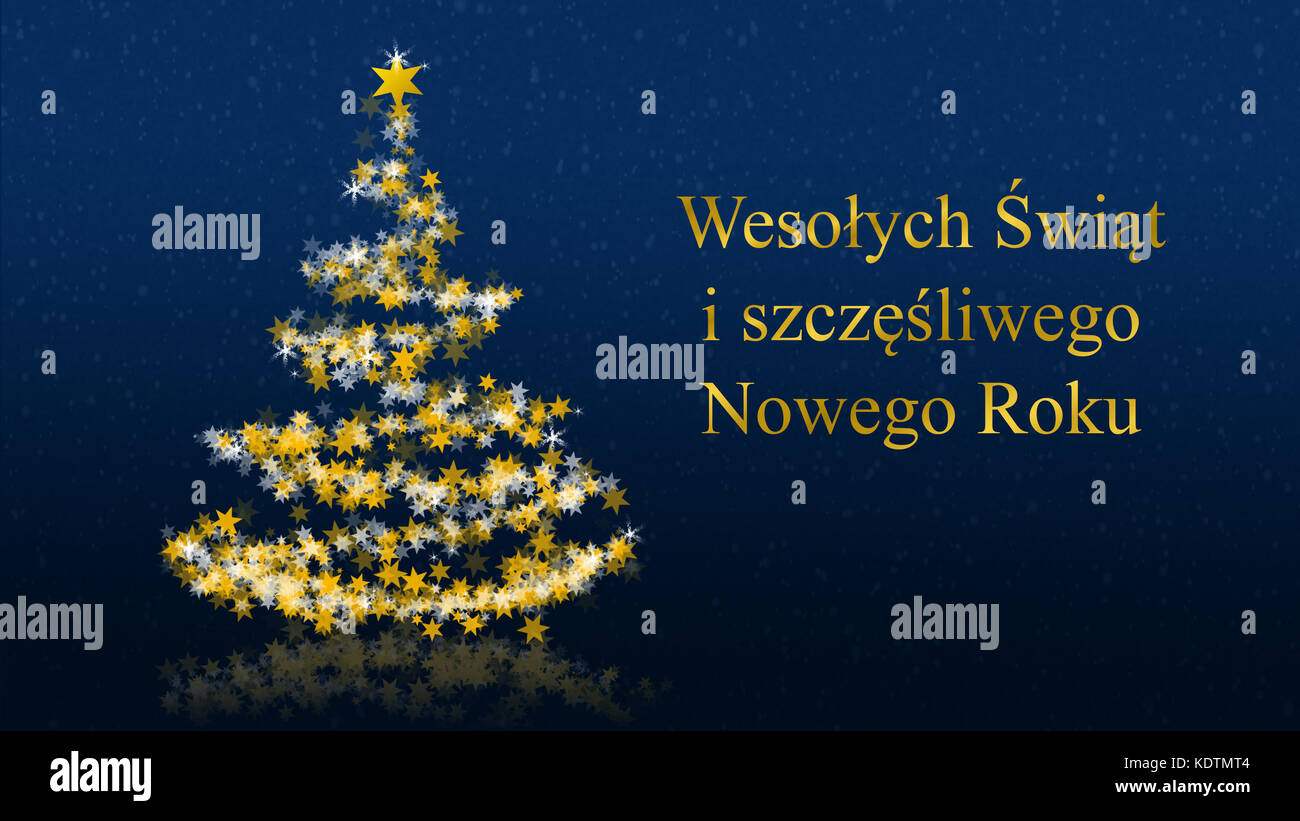 Polish christmas card stock photos polish christmas card stock christmas tree with glittering stars on blue background with seasons greetings polish version part m4hsunfo