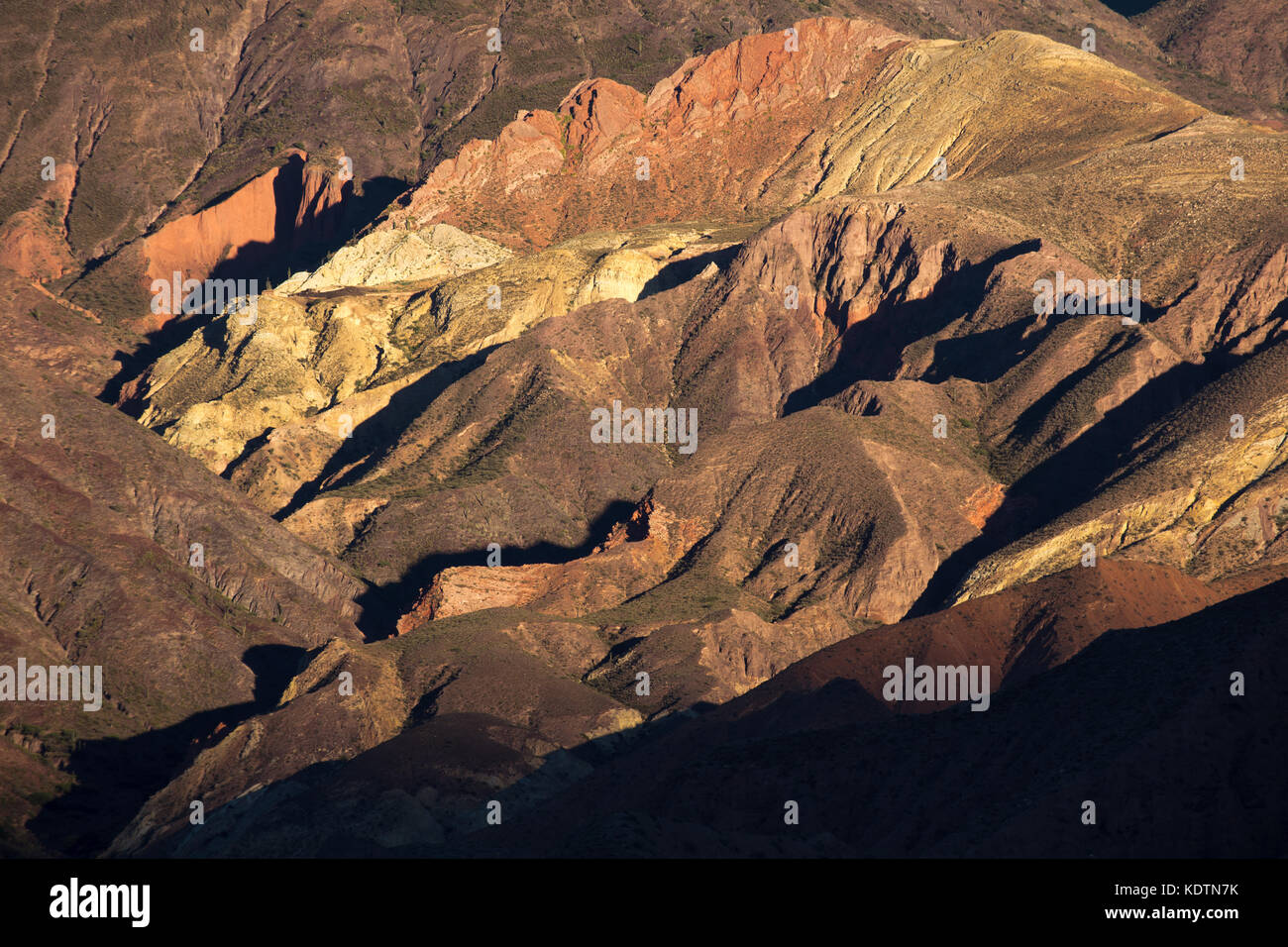 Colours in the mountains of the Quebrada de Humahuaca nr Tilcara, Jujuy Province, Argentina - Stock Image