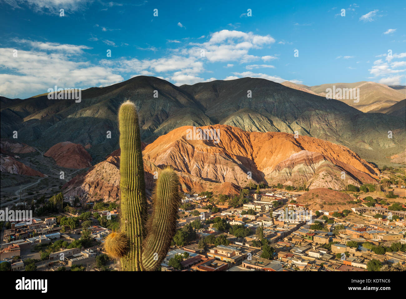 The Cerro de Siete Colores (Hill of Seven Colours) at Purmamarca, Quebrada de Humahuacha, Jujuy Province, Argentina - Stock Image