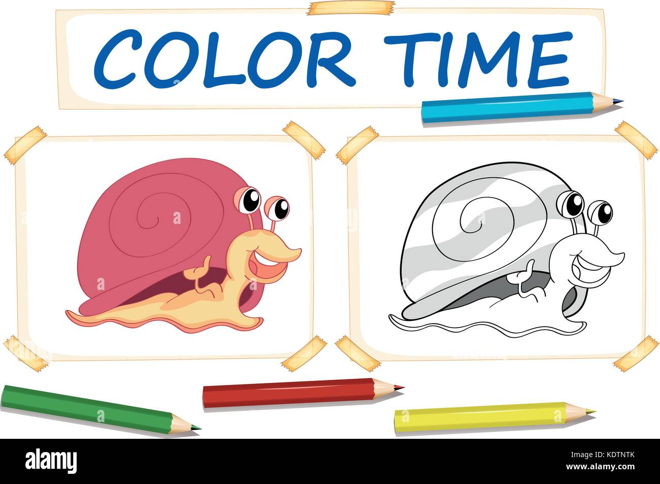 coloring template with cute snail illustration stock vector art