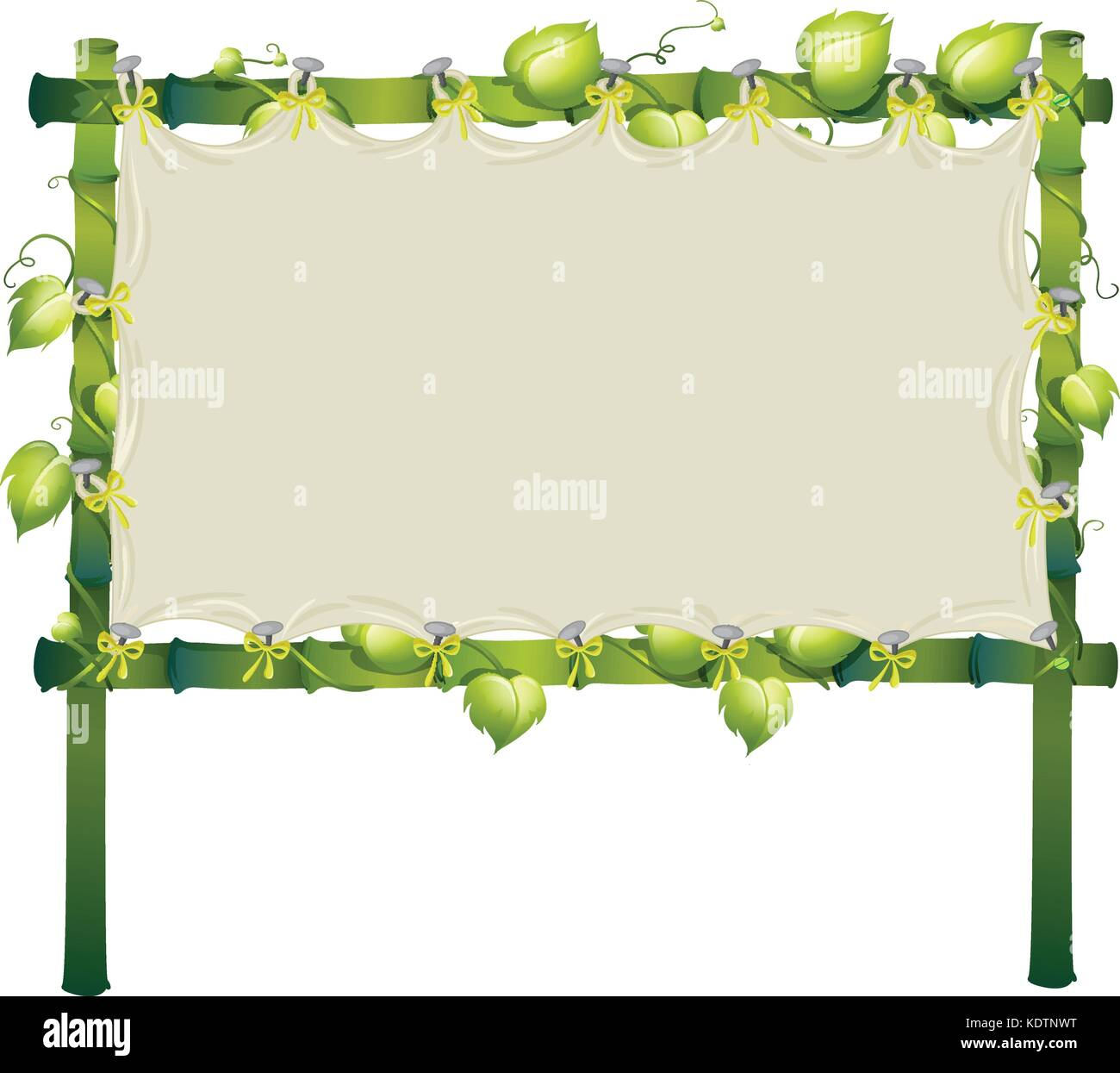 Frame made of bamboo with white cloth illustration Stock Vector Art ...