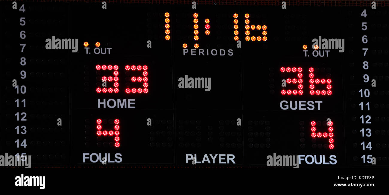 Basketball electronic scoreboard with bright numbers. Sports statistics: time out, score, time, period, fouls. - Stock Image