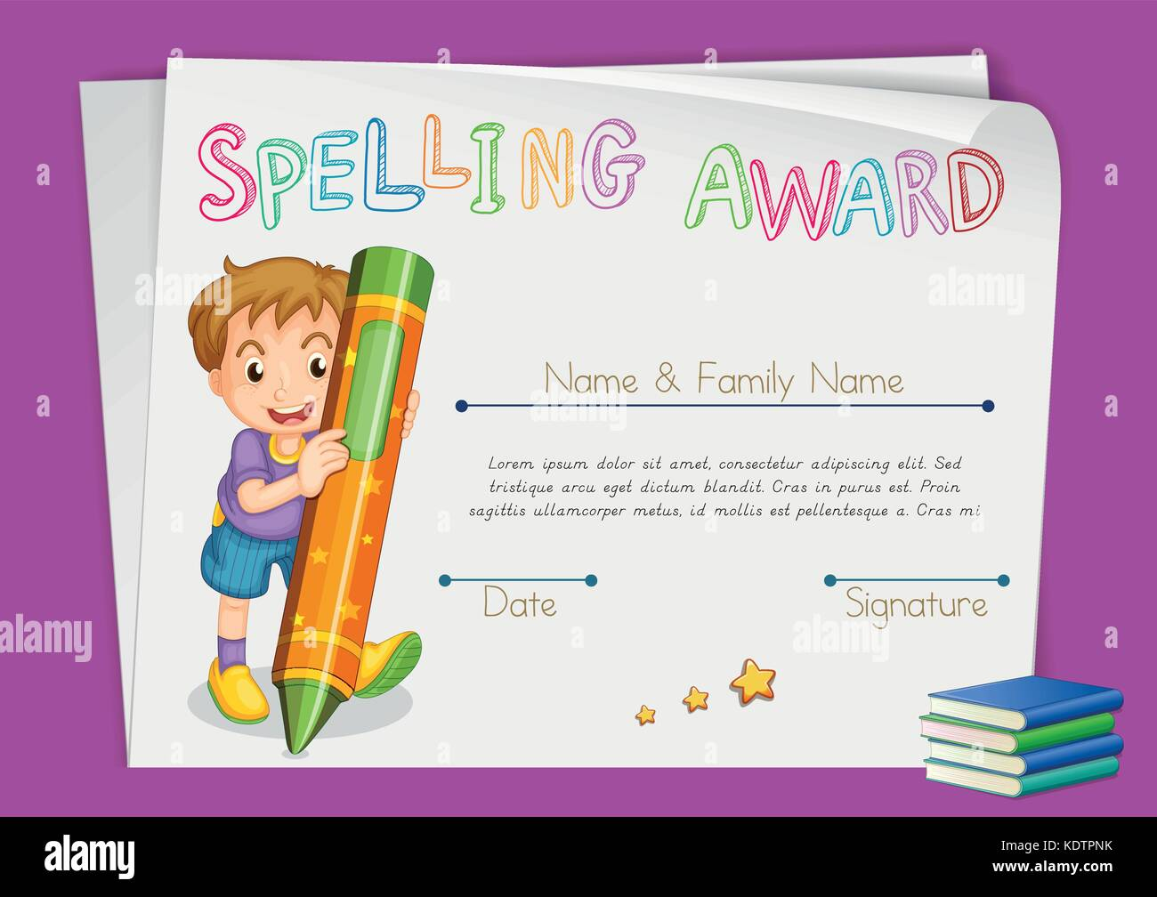 Spelling award certificate template with kids and crayon spelling award certificate template with kids and crayon illustration maxwellsz