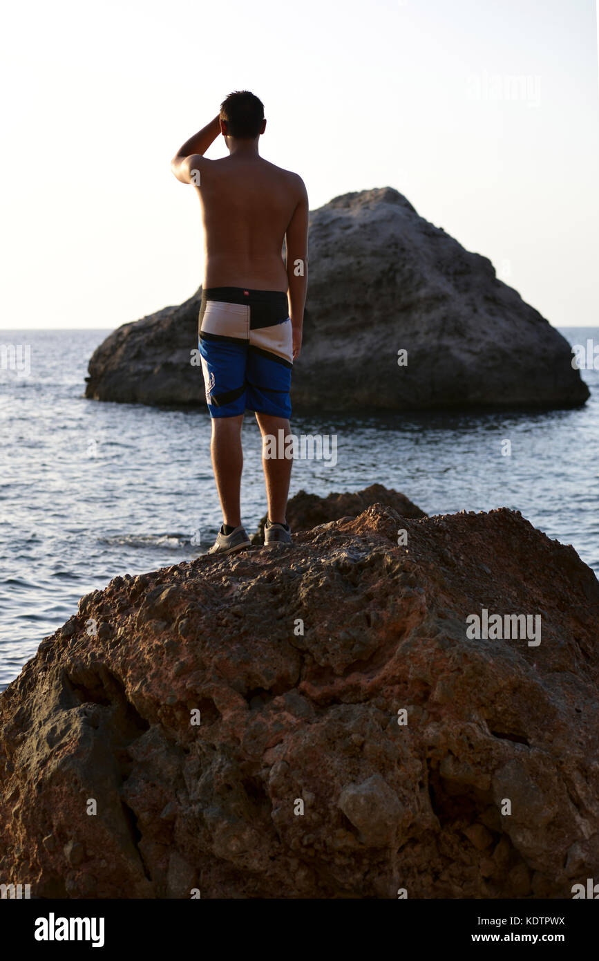 pictures of a getaway in Mallorca, sea cliffs, details of the island and very endearing landscapes - Stock Image