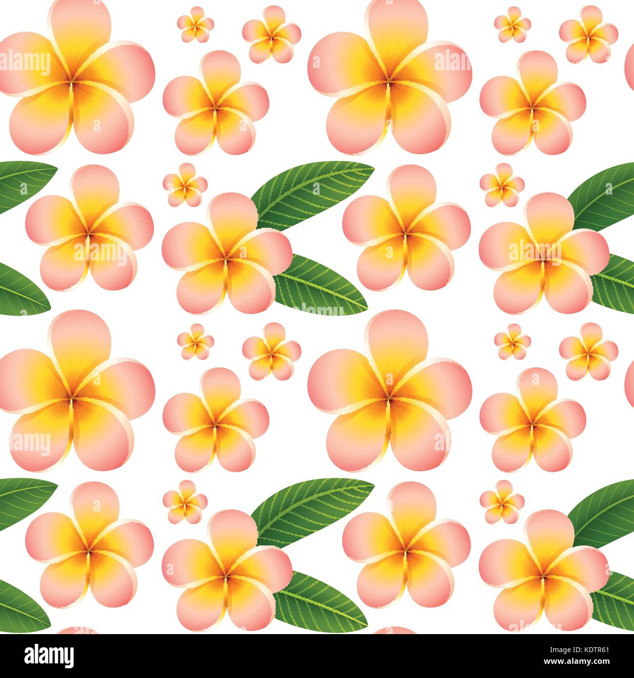 Seamless Background With Pink Plumeria Flowers Illustration Stock