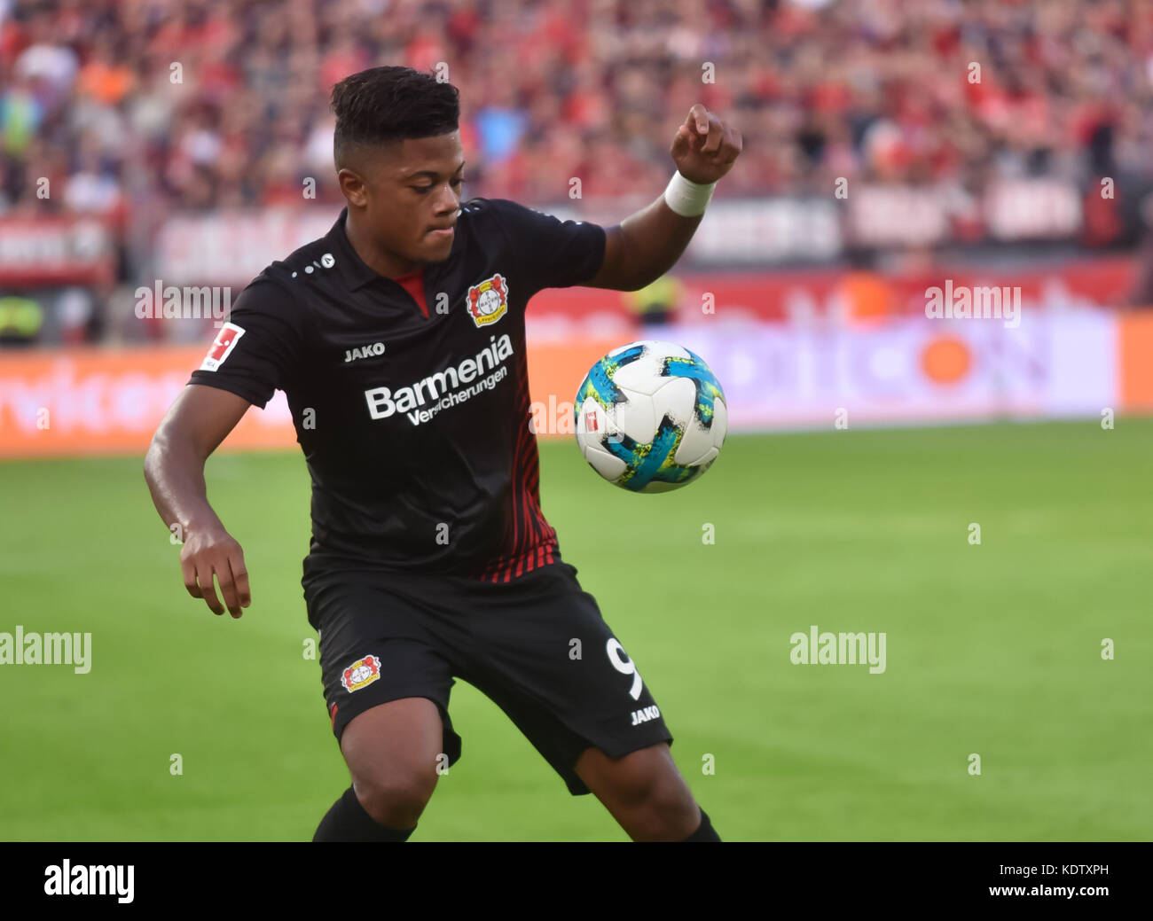 Leverkusen, Germany October 15 2017, Bundesliga matchday 9, Bayer 04 Leverkusen vs VFL Wolfsburg: Leon Bailey (B04) - Stock Image