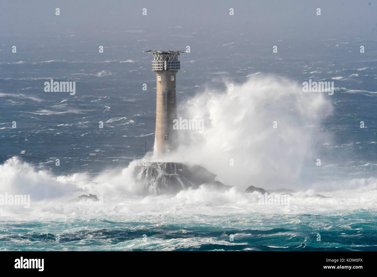 Lands End, Cornwall, UK. 16th Oct, 2017. UK Weather. Gale force winds from ex hurricane Ophelia whips up huge stormy - Stock Image